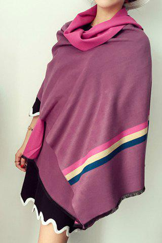 Chic Three Color Stripe Pattern Fringed Edge Pashmina For Women - PURPLE