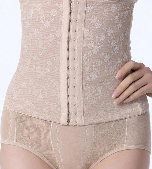 Stylish Floral Jacquard Steel Boned Corset For Women - COMPLEXION L