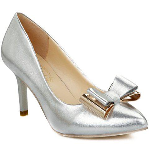 Graceful Bow and Pure Color Design Pumps For Women - SILVER 36