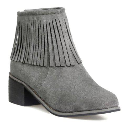 All-Match Chunky Heel and Fringe Design Women's Short Boots - GRAY 38