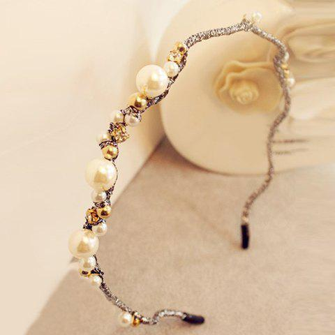 Noble Faux Pearl Rhinestone Wave Hairband For Women