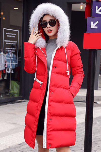 Trendy Hooded Long Sleeve Slimming Fur Embellished Women's Coat - RED L