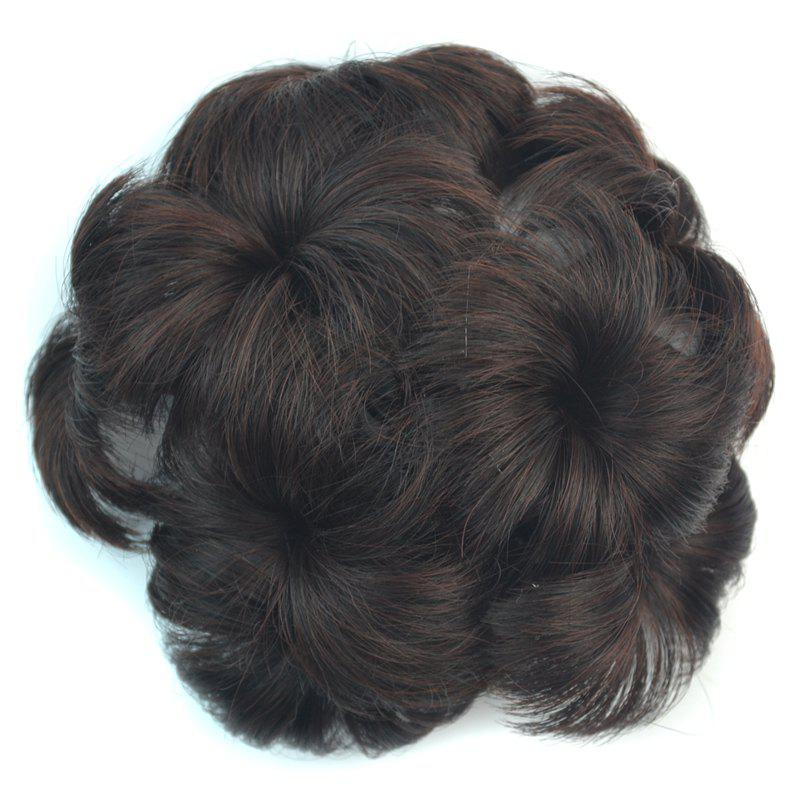 Shaggy Stylish Short Synthetic Hair Women's Flower-Shaped Chignon with Comb - DEEP BROWN M