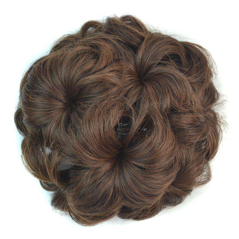 Shaggy Stylish Short Synthetic Hair Women's Flower-Shaped Chignon with Comb - BROWN M