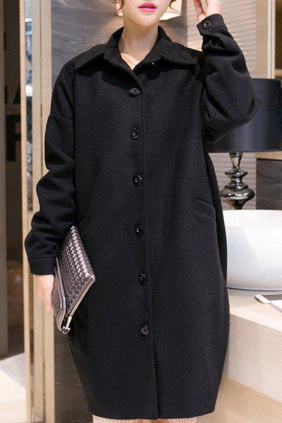 Trendy Turn-Down Collar Long Sleeve Single-Breasted Solid Color Women's Coat - BLACK L