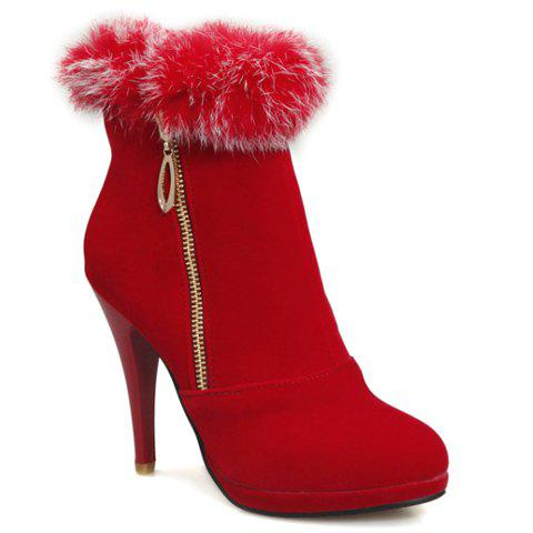 Fashionable Stiletto Heel and Faux Fur Design Women's Short Boots - RED 36