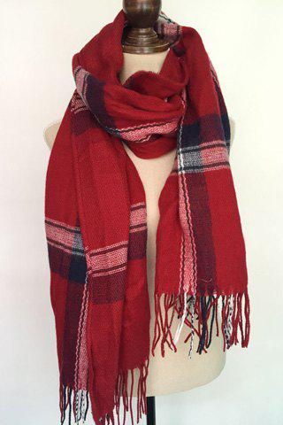 Chic Plaid Pattern Long Tassel Scarf For Women - RED