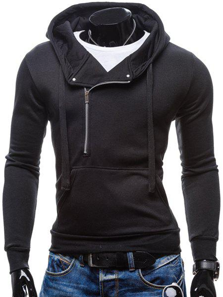 Inclined Half-Zip Front Pocket Solid Color Drawstring Hooded Long Sleeves Men's Hoodie - BLACK M