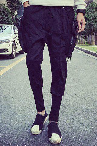 Side Zipper Pockets Design Lace-Up Rib Splicing Beam Feet Men's Nine Minutes of Pants - BLACK XL