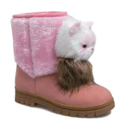 Cute Cat Shape and Suede Design Snow Boots For Women - PINK 38