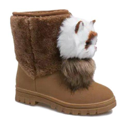 Cute Cat Shape and Suede Design Snow Boots For Women