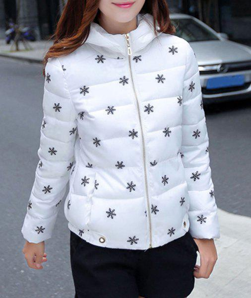 Stylish Long Sleeve Hooded Snowflake Pattern Women's Coat - WHITE XL