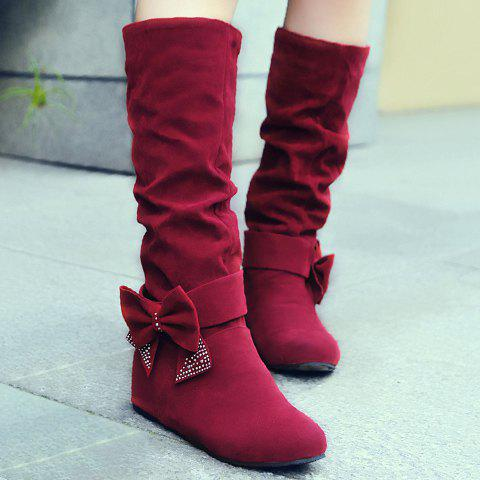 Graceful Bow and Suede Design Mid-Calf Boots For Women