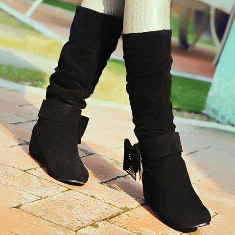 Graceful Bow and Suede Design Mid-Calf Boots For Women - BLACK 38