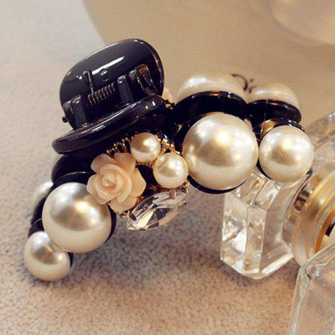 Delicate Faux Pearl Rhinestone Floral Hair Claw For Women - BLACK