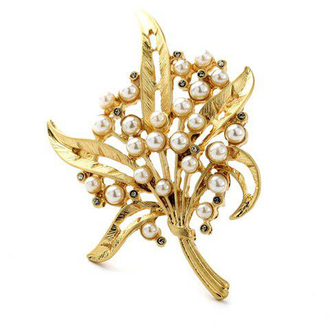 Stunning Faux Pearl Leaf Hollow Out Brooch For Women - GOLDEN