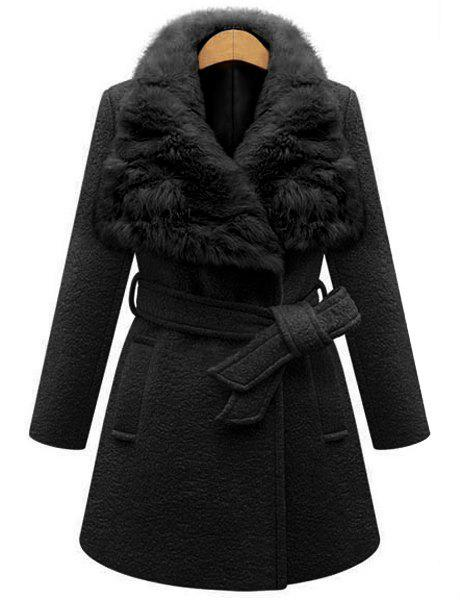 Stylish Faux Fur Collar Long Sleeve Self Tie Belt Coat For Women 650486 001 for hp dv4 4000 laptop motherboard for hp notebook 650486 001 100% tested and guaranteed in good working condition