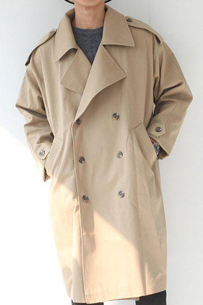 Turn-Down Collar Loose-Fitting Double-Breasted Long Sleeve Men's Coat - KHAKI M