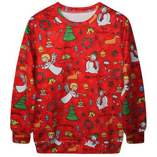 Chic Long Sleeve Round Collar Snowman Print Women's Sweatshirt - RED ONE SIZE(FIT SIZE XS TO M)