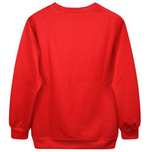 Cartoon Col Chic manches longues ronde Imprimer Pull Femme - Rouge ONE SIZE(FIT SIZE XS TO M)