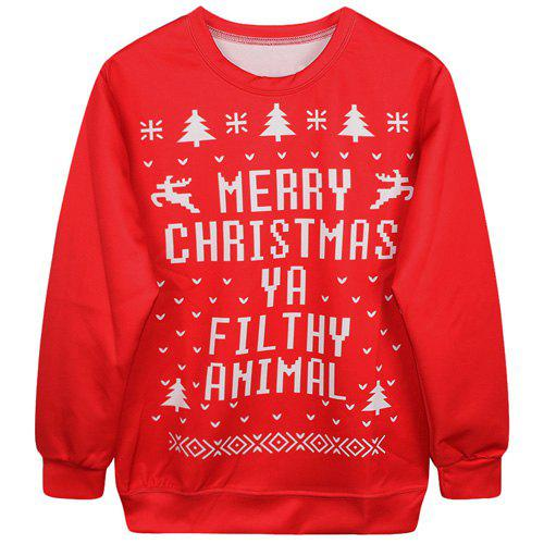 Chic Long Sleeves Round Neck Letter Print Women's Christmas Sweatshirt - RED ONE SIZE(FIT SIZE XS TO M)