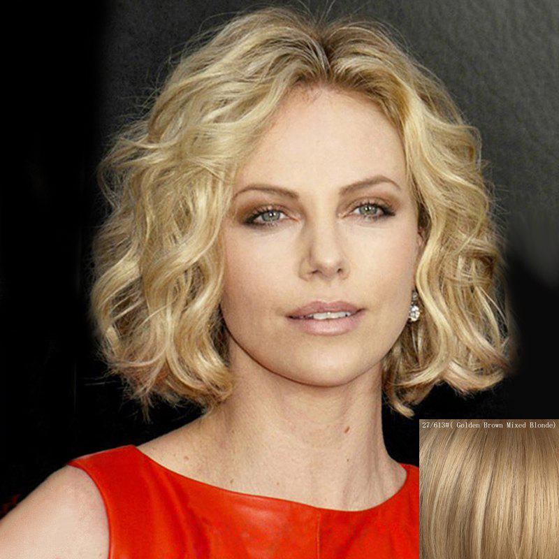 Shaggy Curly Lace Front Elegant Centre Parting Trendy Short Real Human Hair Wig For Women - GOLDEN BROWN/BLONDE