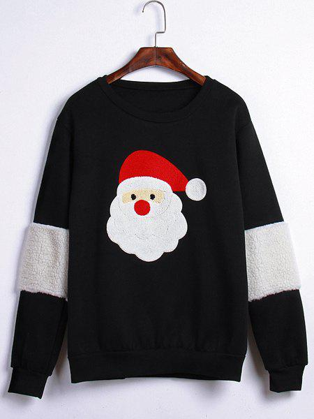 Sweet Santa Claus Embroidery Round Neck Long Sleeve Sweatshirt For Women - BLACK ONE SIZE(FIT SIZE XS TO M)