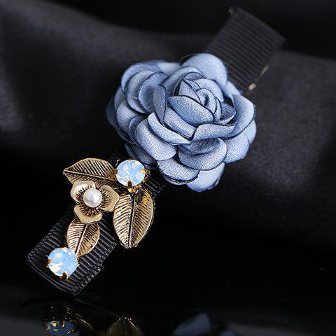 Elegant Faux Pearl Rhinestone Rose Shape Hairpin For Women - AZURE
