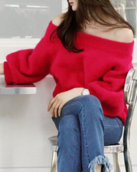 Stylish Off-The-Shoulder Long Sleeve Loose Solid Color Women's Sweater - RED ONE SIZE(FIT SIZE XS TO M)