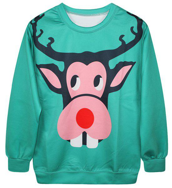 Cute Long Sleeve Round Neck Monkey Print Women's Christmas Sweatshirt