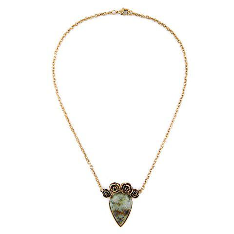 Charming Original Stone Floral Shape Necklace For Women - GOLDEN