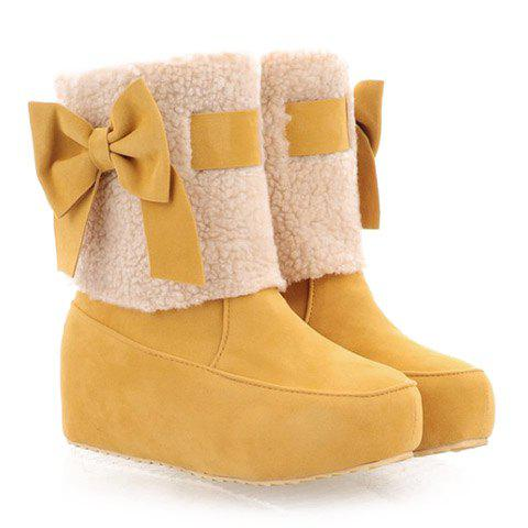 Cute Increased Internal and Bowknot Design Short Boots For Women - YELLOW 37