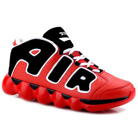 Personalized Letters and Lace-Up Design Sneakers For Men - RED 43