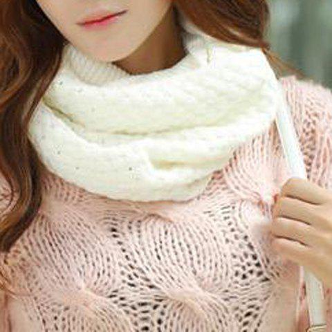 Chic Solid Color Crocheting Women's Knitted Infinity Chunky Scarf - WHITE