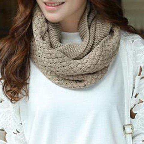Chic Solid Color Crocheting Women's Knitted Infinity Chunky Scarf - KHAKI