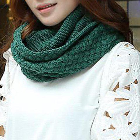 Chic Solid Color Crocheting Women's Knitted Infinity Chunky Scarf - BLACKISH GREEN