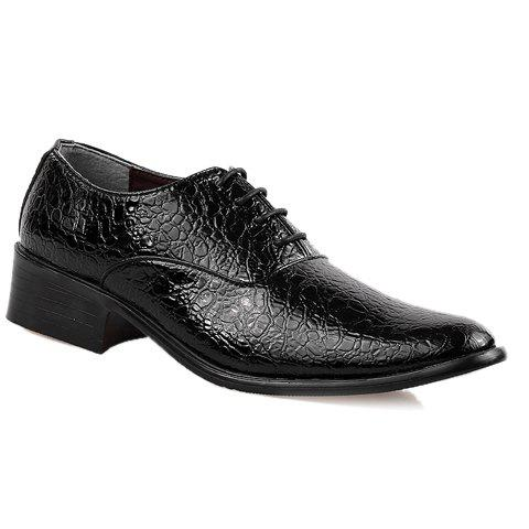 Stylish Lichee Pattern and Lace-Up Design Formal Shoes For Men - BLACK 44