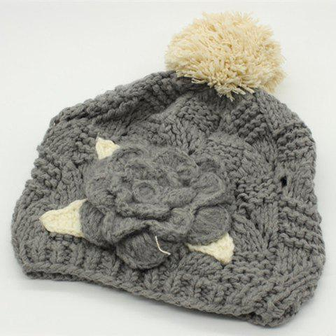 Chic Big Flower Embellished Hollow Out Knitted Beanie For Women - GRAY
