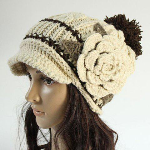 Chic Woolen Yarn Ball and Big Flower Embellished Knitted Beanie For Women - OFF WHITE