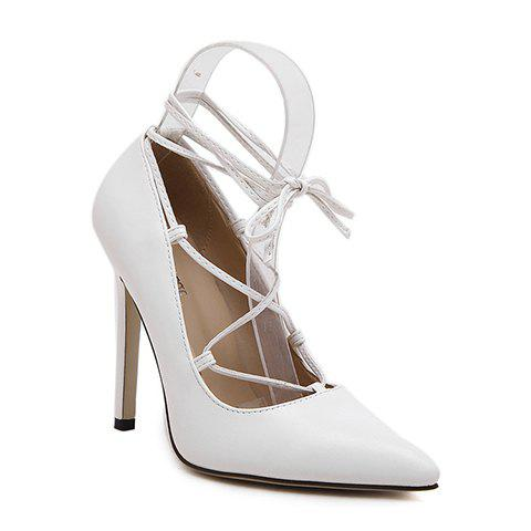 Trendy Pointed Toe and Criss-Cross Design Pumps For Women - WHITE 39