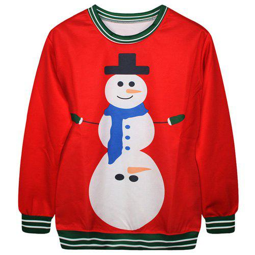 Trendy Long Sleeve Round Neck Snowman Print Women's Sweatshirt - RED ONE SIZE(FIT SIZE XS TO M)