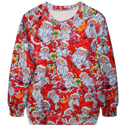 Trendy Long Sleeve Round Neck Santa Claus Print Women's Sweatshirt