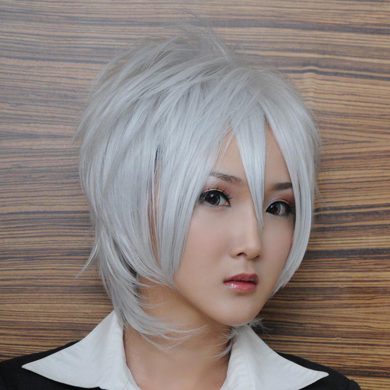 Handsome Silvery White Heat Resistant Fiber Oblique BangAnti Alice Hair Short Hair Side Bang Cosplay Anime Wig