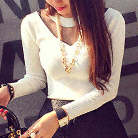 Fashionable Women's Long Sleeve See-Through Round Neck Sweater - WHITE ONE SIZE(FIT SIZE XS TO M)