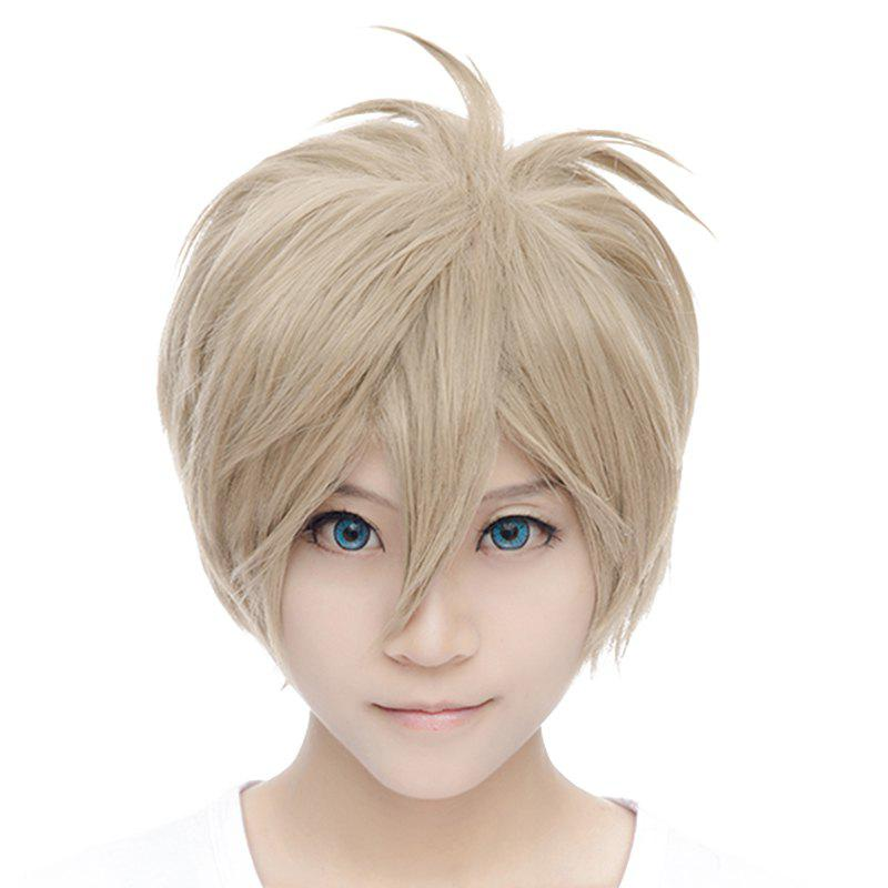 Fluffy Straight Fashion Tachibana Makoto Style Layered Short Spiffy Light Brown Cosplay Wig - LIGHT BROWN