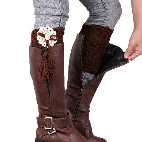Pair of Chic Lace and Tassel Pendant Embellished Women's Knitted Boot Cuffs - COFFEE