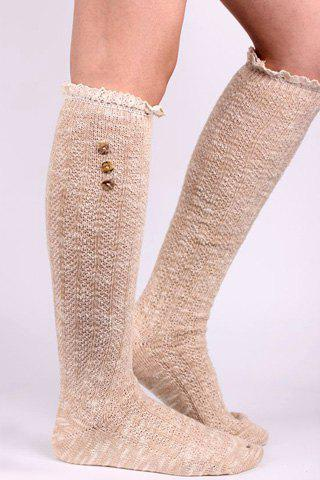 Pair of Chic Lace and Button Embellished Women's Stockings - KHAKI