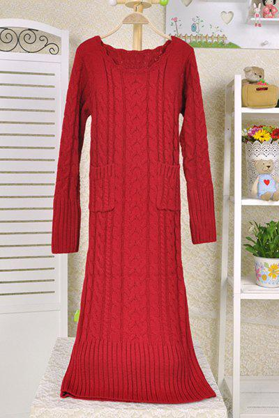 Chic Scoop Neck Long Sleeve Pure Color Pocket Design Women's Sweater Dress - RED L