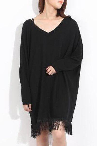 V-Neck Long Sleeve Solid Color Loose Fringed Dress For Women - BLACK ONE SIZE(FIT SIZE XS TO M)
