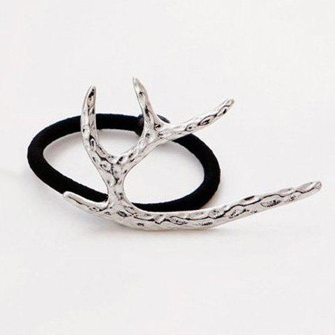 Trendy Solid Color Metal Branch Shape Elastic Hair Band For Women